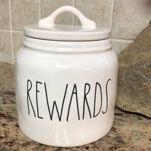"🆕🐶😻RAE DUNN Pet treat canister ""REWARDS"""